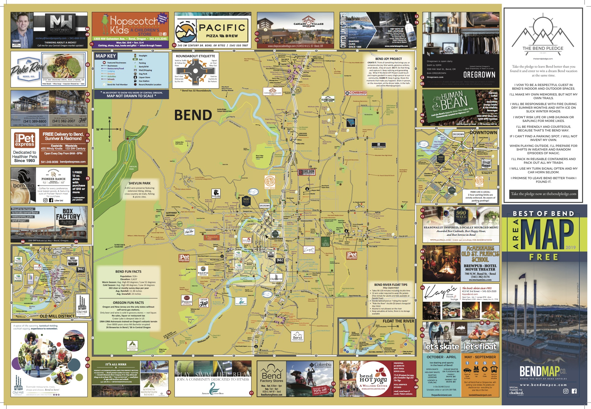 Mill City Oregon Map.Bend Oregon Area Map Dining Shopping Attractions Bend Map Co