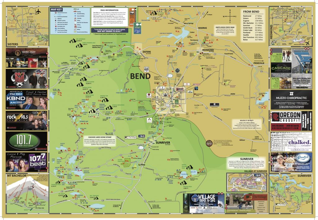 Bend Oregon Visitors Map including Bend, Redmond, Sunriver, Sisters