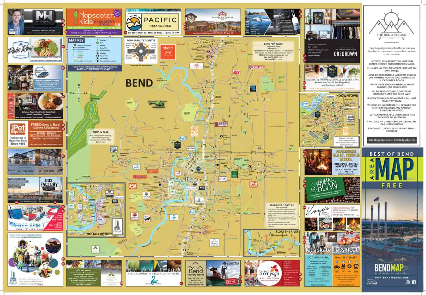 Bend Oregon Visitors Map Including Old Mill District and Downtown Bend