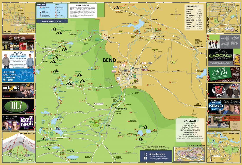 Bend Oregon Area Map back