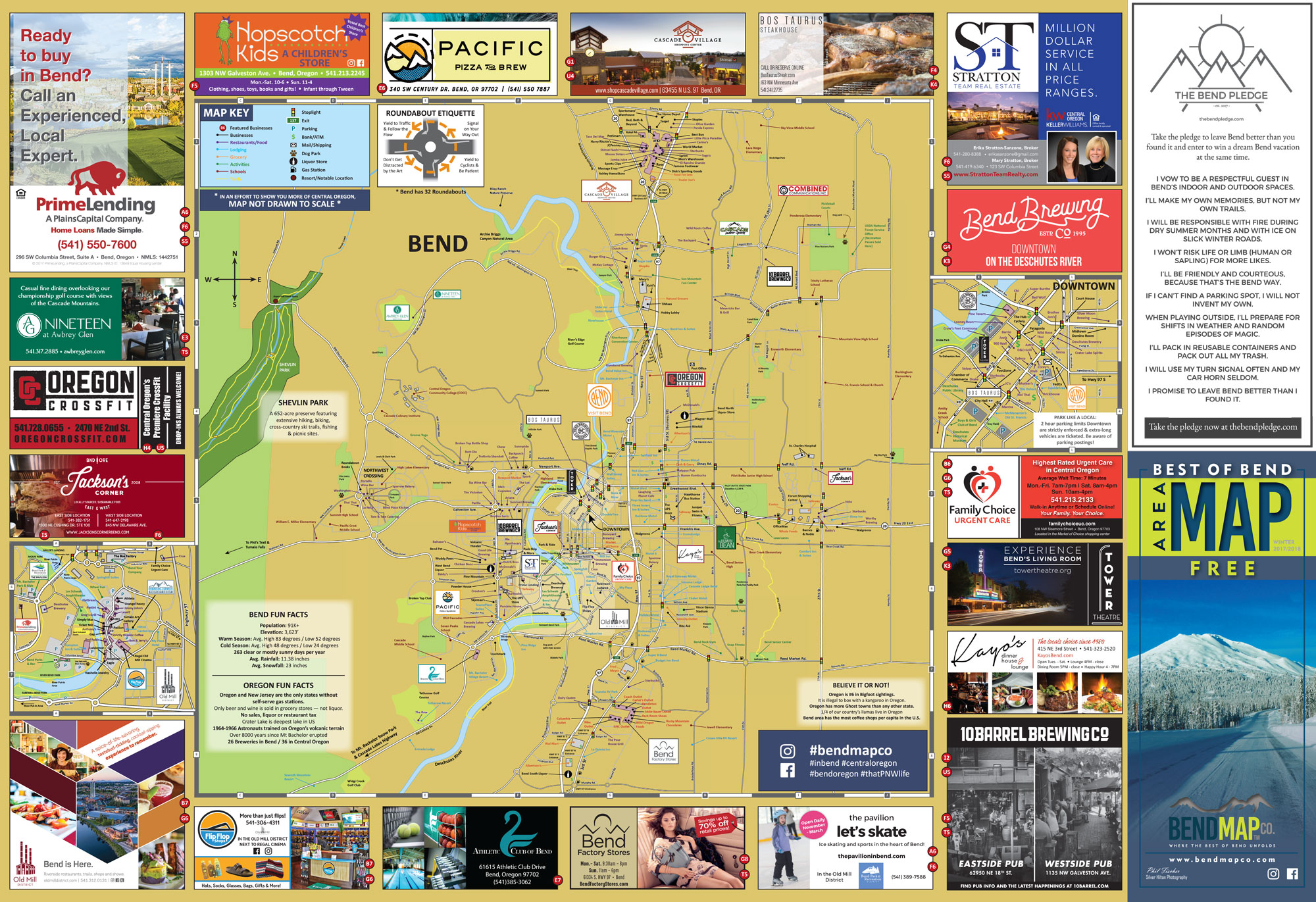 Bend Oregon Area Map Dining Shopping Attractions Bend Map Co - Oregon map
