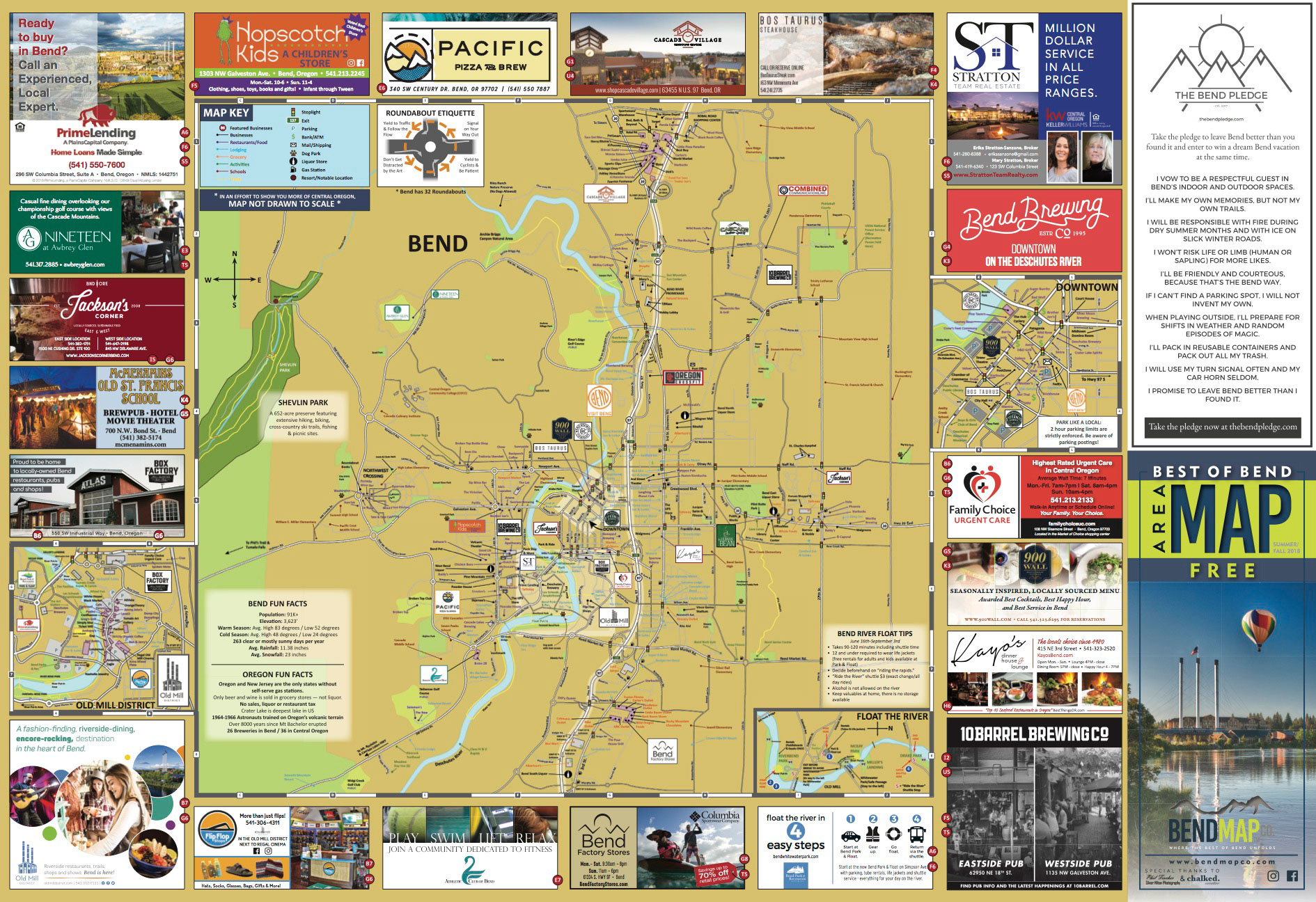 Bend Oregon Visitors Map Old Mill Downtown
