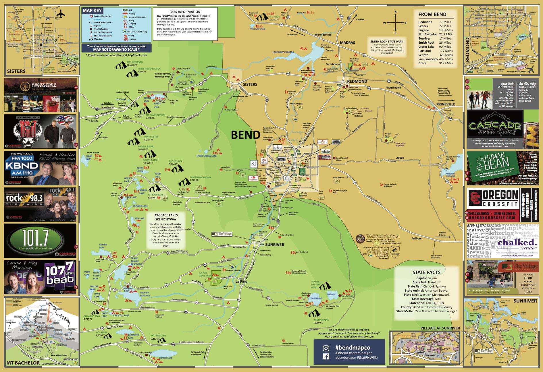 Bend Oregon Visitors Map Sisters Redmond Sunriver